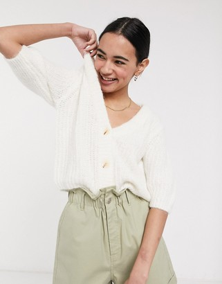 Selected cropped cardigan with puff sleeves in cream