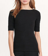 Lauren Ralph Lauren Stretch Cotton Bateau Neck Elbow Sleeve Tee