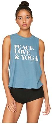 Spiritual Gangster Surplice Back Swing Tank (Peace/Aqua Sea) Women's Clothing