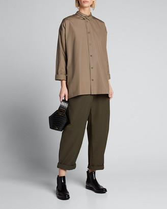 eskandar Poplin Double-Collar Slim A-Line Shirt