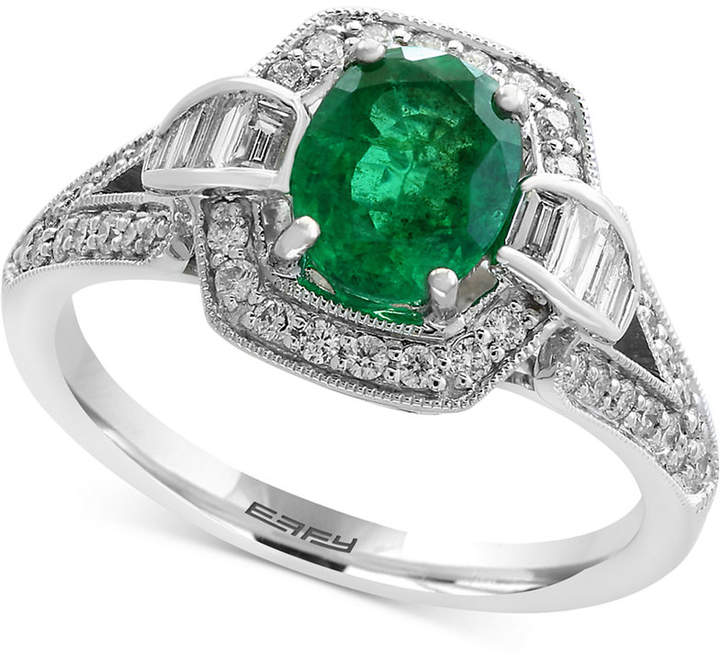 Effy Brasilica by Emerald (1-1/8 ct. t.w.) and Diamond (3/8 ct. t.w.) Ring in 14k White Gold, Created for Macy's