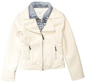 Habitual Dalilah Faux Leather Denim Jacket (Big Kids) (Off-White) Girl's Jacket
