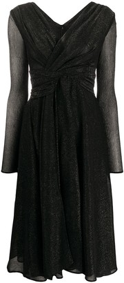 Talbot Runhof Ruched Cross Front Dress
