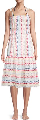 Red Carter Eyelet Lace Midi Cover-Up Dress