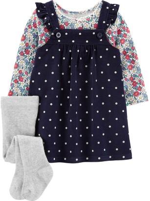 Carter's Baby Girl 3-Piece Floral Tee & Polka Dot Jumper Set