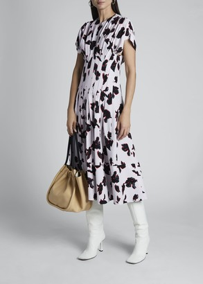 Proenza Schouler Pleated Floral-Print Midi Dress