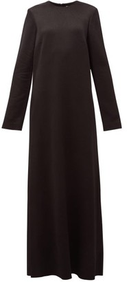 Raey Crew-neck Textured-satin Maxi Dress - Black