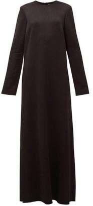 Raey Crew-neck Textured-satin Maxi Dress - Womens - Black