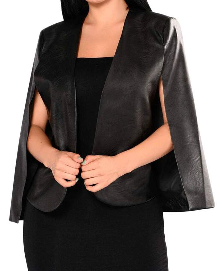 2b11eecc1b119 Zantt Womens Faux PU Leather Open Front Cape Poncho Short Blazer Coat S