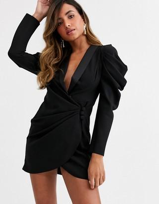 Asos Design DESIGN mini drape front tux dress-Black