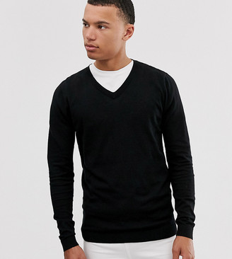 ASOS DESIGN Tall v-neck cotton jumper in black