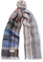 Oliver Spencer - Gela Checked Linen Scarf