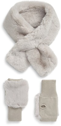 Jocelyn Faux Fur Scarf & Mitten Set