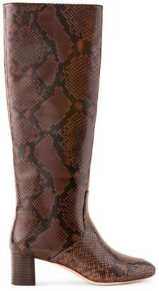 Loeffler Randall Gia Tall Snakeskin-Embossed Leather Boots