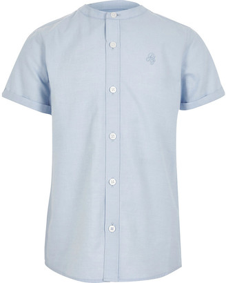 River Island Boys blue grandad collar twill shirt