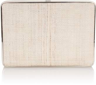 Hunting Season Leather-Trimmed Straw Square Compact Clutch