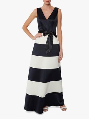 Gina Bacconi Fianna Satin Dress, Navy/White