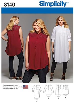Simplicity Women's Plus Size Shirts Sewing Pattern, 8140