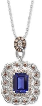 "LeVian Le Vian Blueberry Tanzanite (2 ct. t.w.) & Diamond (3/4 ct. t.w.) 18"" Pendant Necklace in 14k White Gold"