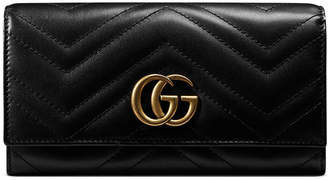 Gucci GG Marmont Medium Quilted Flap Wallet, Black