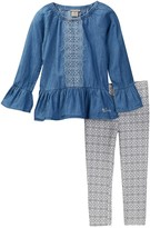 Lucky Brand Embroidered Chambray Tunic & Legging Set (Little Girls)