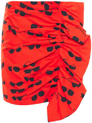 Victoria Victoria Beckham Ruched Printed Cotton-blend Ottoman Mini Skirt
