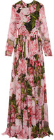Dolce & Gabbana Floral-print Silk-chiffon Gown - Pink