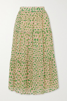 Paul & Joe Basilic Tiered Floral-print Cotton Midi Skirt - Green