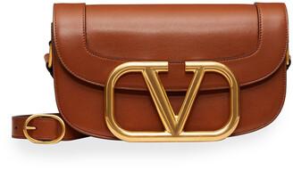 Valentino Supervee Smooth Leather Shoulder Bag