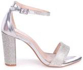 Kesha Silver Metallic Block Heels With Diamante Detail