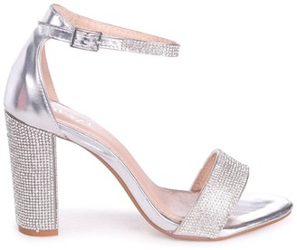 Linzi Kesha Silver Metallic Block Heels With Diamante Detail