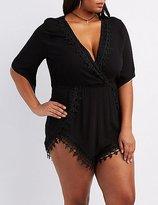 Charlotte Russe Plus Size Crochet-Trim Surplice Romper