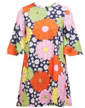Dodo Bar Or Zosha Floral-print Crepe Mini Dress - Womens - Navy Multi