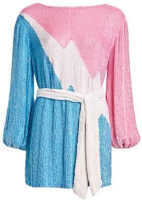 retrofete Grace Sequin Colorblock Mini Dress