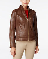 MICHAEL Michael Kors Ribbed Leather Jacket