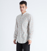 Shades of Grey by Micah Cohen Light Grey Floral Button Down Shirt