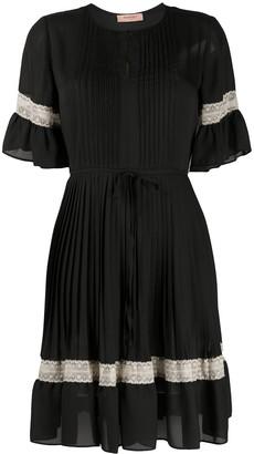 Twin-Set Lace-Trimmed Pleated Mini Dress