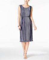 Connected Striped Pleated Belted Dress