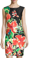 Chetta B Sheath Dress, Black/Orange