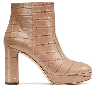 Kate Spade Barrett Croc-Embossed Leather Platform Ankle Boots
