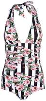 Dolce & Gabbana Stripe Floral Plunge Swimsuit