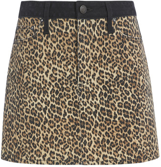 Alice + Olivia Good High Rise Leopard Mini Skirt