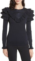 Ted Baker Women's Hellgar Satin Contrast Ruffle Sweater