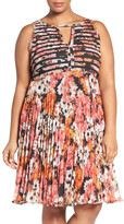 Adrianna Papell Floral Print Banded Bodice Fit & Flare Dress (Plus Size)