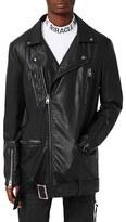 Topman Men's Aaa Collection Longline Faux Leather Biker Jacket