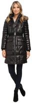 """Andrew Marc Addy 37"""" Block Puffer w/ Belt and Faux Fur Hood"""