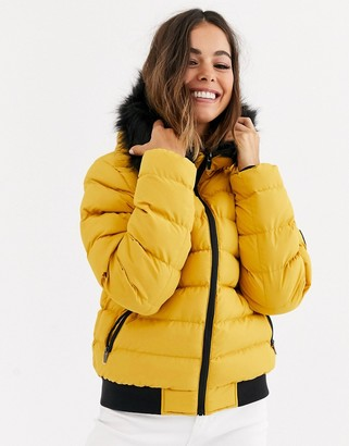 Brave Soul griffin puffer jacket with faux fur trim hood-Yellow