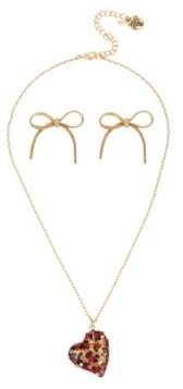 Betsey Johnson Leopard Heart Pendant Necklace Stud Earrings Set