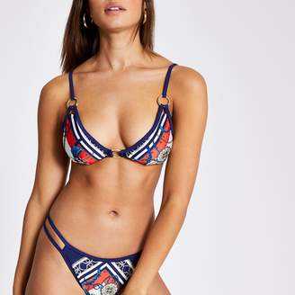 River Island Womens Navy print ring front triangle bikini top