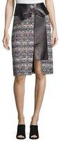 Alexander McQueen Leather-Trimmed Tweed Skirt, Navy Mix